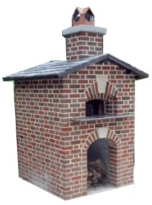 Image of brick outdoor bake oven with oven and wood storage compartment below.. Concept design only.
