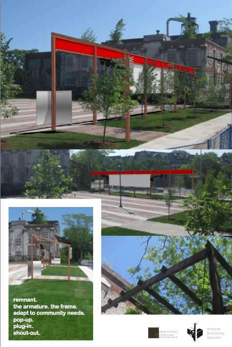 Concept drawing of industrial-looking trellis feature on edge of Town Square