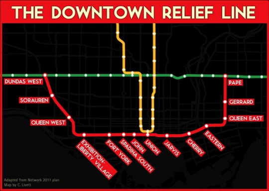 Plan for Downtown Relief Line by Network 2011