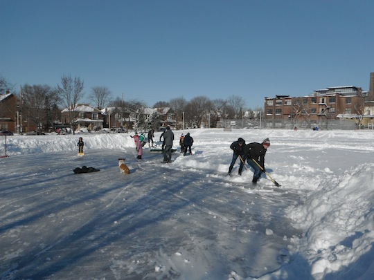 No task is too daunting... thanks shovellers. West side rink open after the big dump