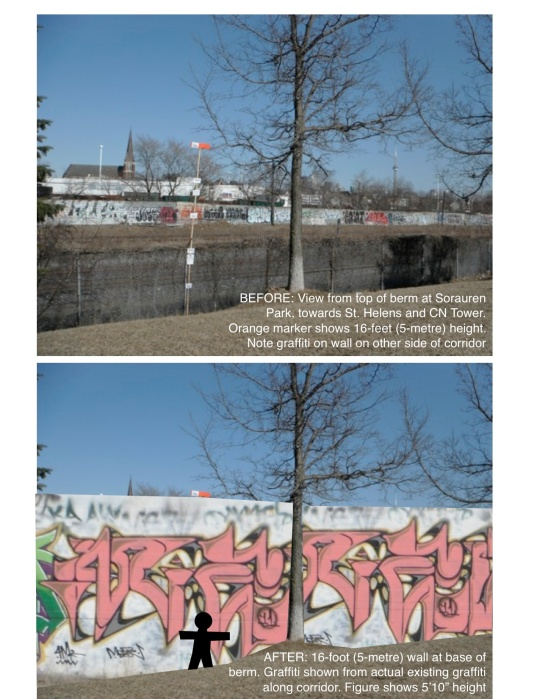 Image showing the Metrolinx noise wall at Sorauren Park, before and after