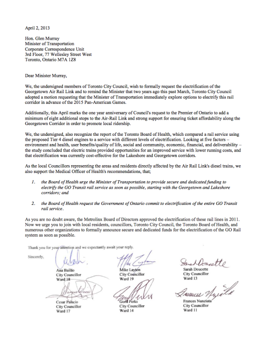 Letter from Toronto City Councillors to Transportation Minister Glen Murray