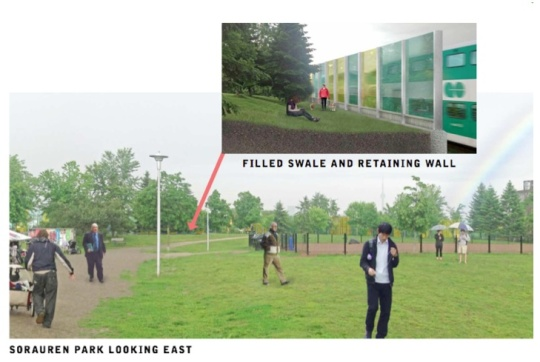 Noise wall proposal for Sorauren Park including filled-in swale