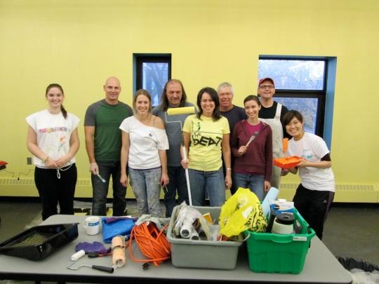 Volunteer painting crew, Sorauren Fieldhouse