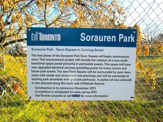 Sorauren Town Square construction signs
