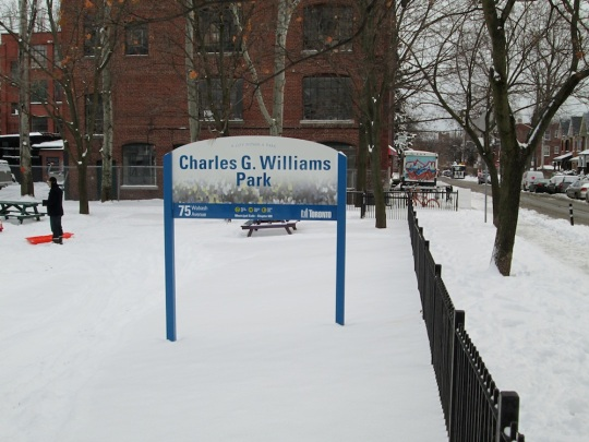 Charles G Williams Park new sign