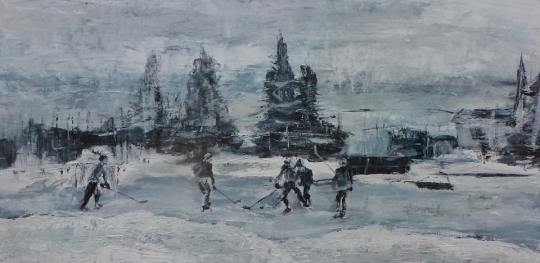 Painting of skaters at Sorauren Park by Larissa Mattwich. Monochromatic, snow and pines and ice and skakers