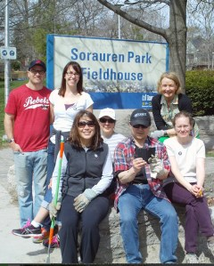 Yale alumni, Sorauren gardeners and MP Peggy Nash take a break from tending to the Fieldhouse gardens