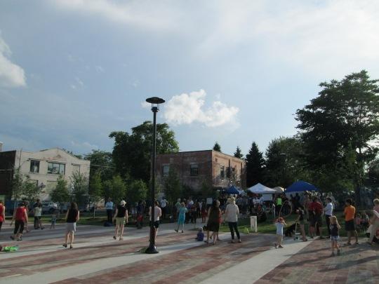 Town Square looking west toward Sorauren Park Fieldhouse. Farmers Market runs every Monday 3 - 7 p.m.