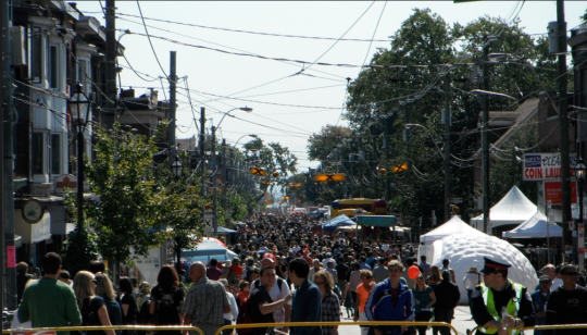 Photo of festival goers on Roncesvalles Avenue