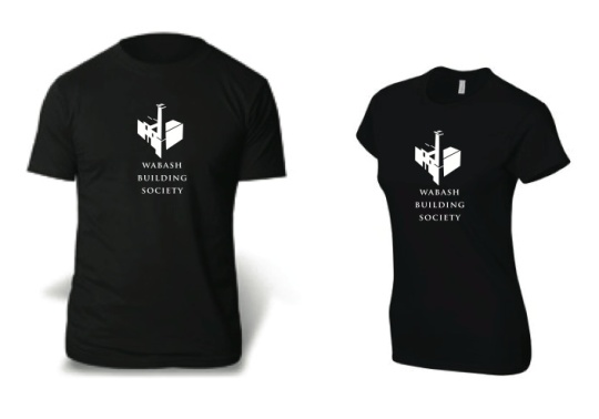 Wabash Building Society t-shirts in black with white lettering and distinctive chimney logo