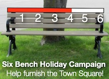 Image of park bench showing funding thermometer with target of six benches