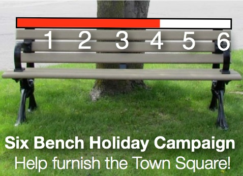 Image of park bench showing funding thermometer target of six new benches