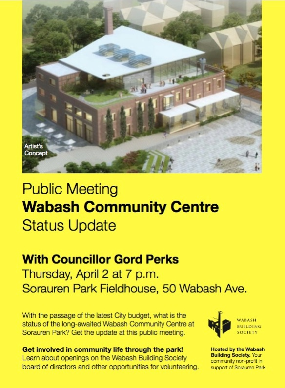 Poster for public meeting on the status of the Wabash Community Centre