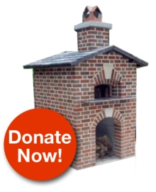 Image of bake oven with Donate Now button