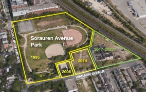 Aerial map showing how park was built in phases: main park 1995, Fieldhouse 2008, Town Square 2014, Community Centre 2017-2023 plan