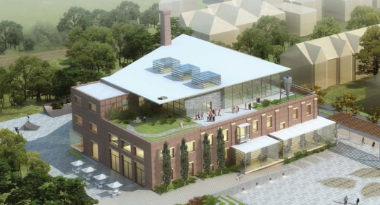 Birds-eye view drawing of the old brick linseed oil mill building, re-imagined as the Wabash Community Centre