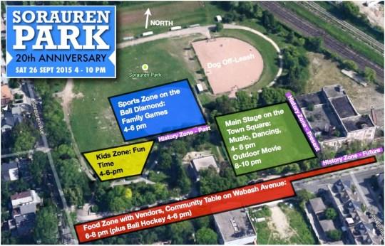Event zones at Sorauren Park 20th Anniversary, Sept. 26, 4 - 10 p.m.