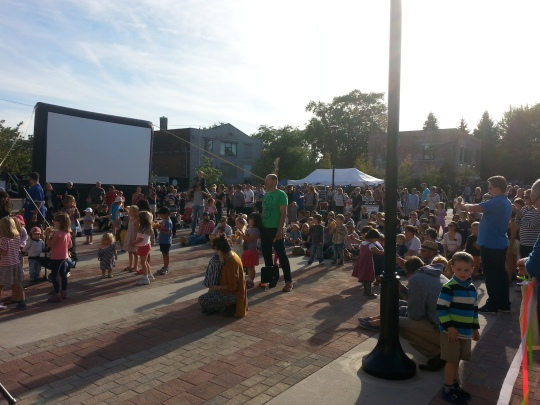 Enjoying the show (and looking forward to the movie) on the Town Square. Photo by Wabash Building Society