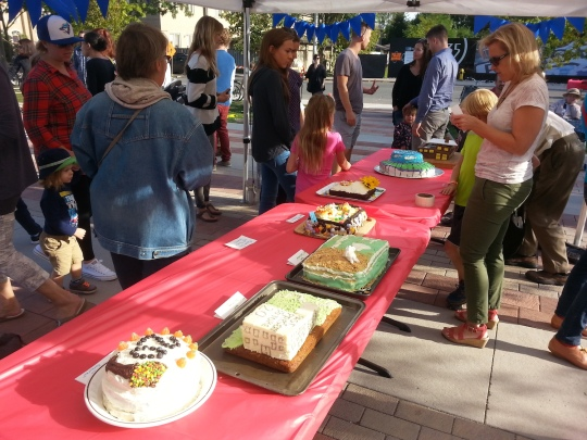 Entries for the 20th Anniversary Cake Decorating Contest. Photo by Wabash Building Society.