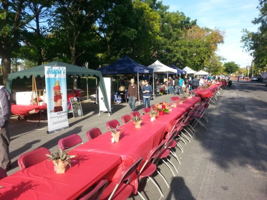 Ready for dinner: the community table on Wabash Avenue