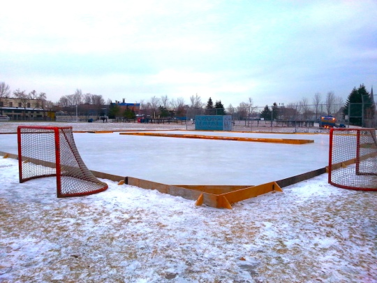 Last year's rink. Two pads are made on the baseball diamond.