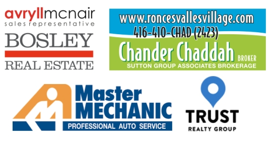 Logos for Avryll McNair, Chander Chaddah, High Park Master Mechanic, Trust Realty Group