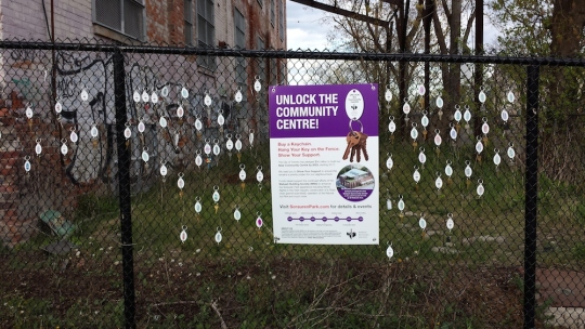 Photo of keychains on the fence outside the future Wabash Community Centre