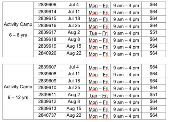 Table showing Parkdale CRC Activity Camp schedule