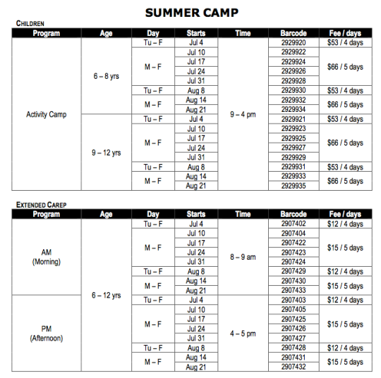 Table showing summer camps at Masaryk Cowan Community Centre