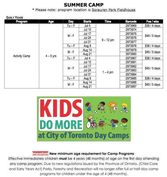 Table showing list of summer camps at Sorauren Park
