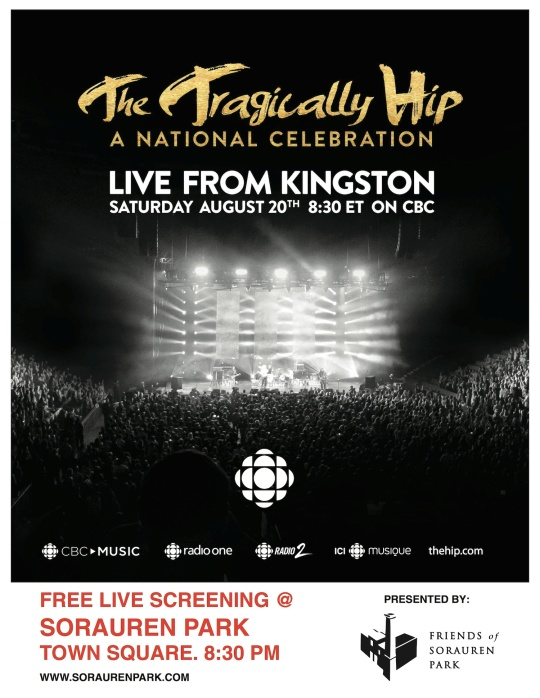 Tragically Hip poster - Soruren Park Aug 20