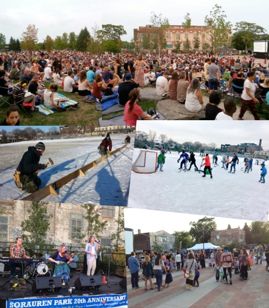 Photo of activities at the park including concerts, skating, celebrations
