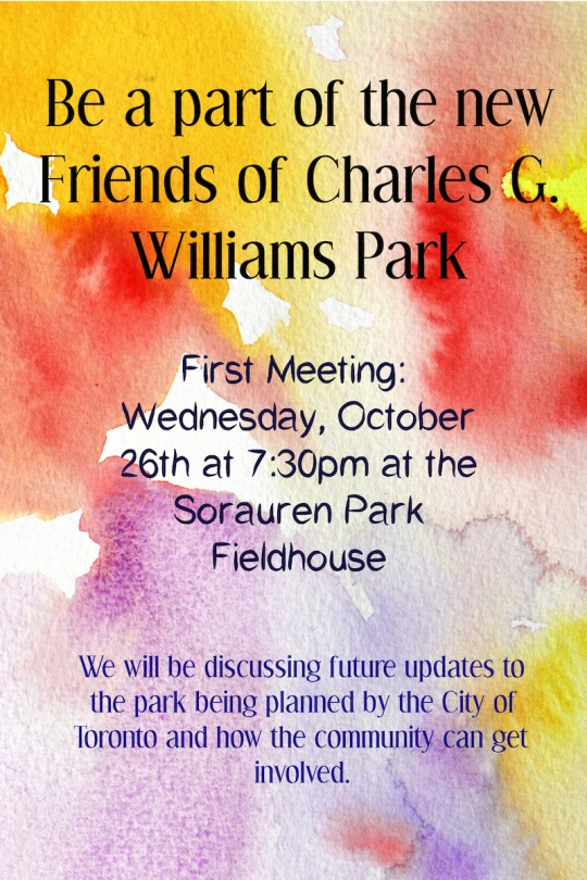 Poster for Charles G Williams Playground, first meeting of friends group, Oct. 26, 2016