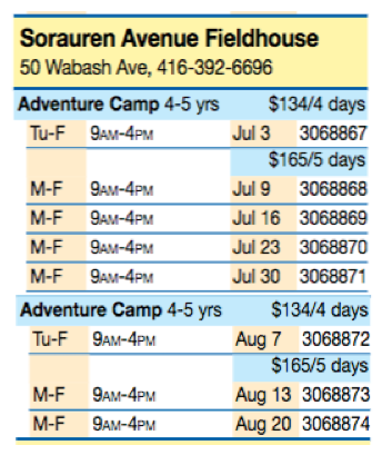Chart showing barcodes for Summer Activity Camps at Sorauren Park. Call 416-392-6696 for details.