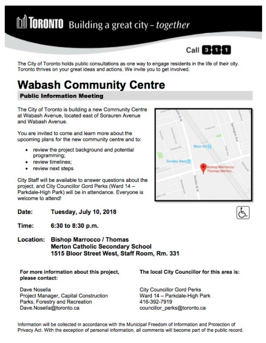 Poster with details about the Wabash Communty Centre public consultation, as described in the post.