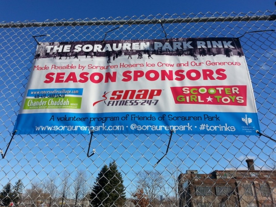 sponsor banner attached to fence