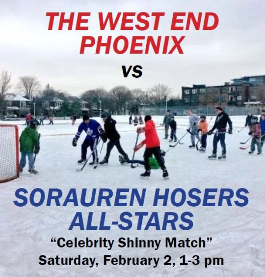 Poster for the shinny game showing players on the ice at Sorauren Park natural ice rink
