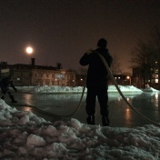 Sorauren Hosers hard at work under moonlight