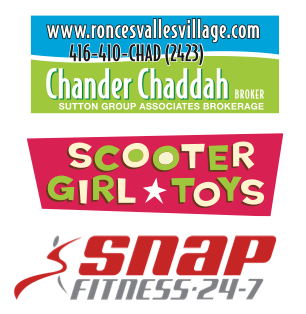 Logos for Chander Chaddah, Scooter Girl Toys and Snap Fitness High Park