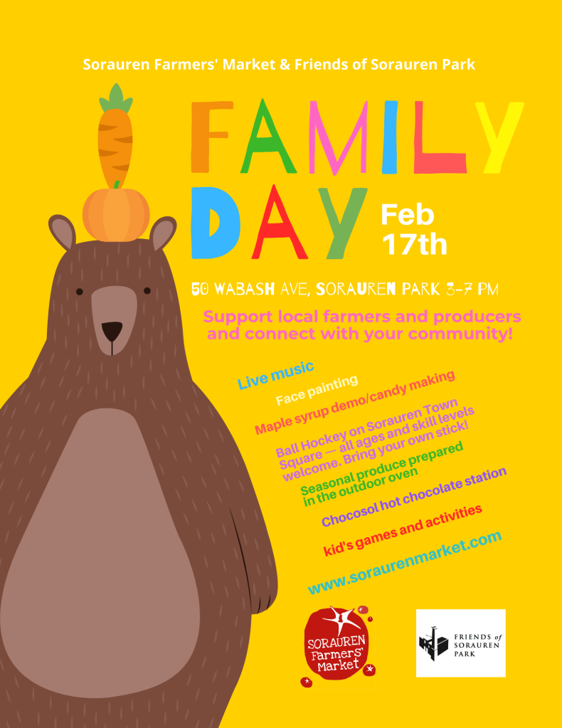 Poster with details of Family Day activities, as repeated in the story.