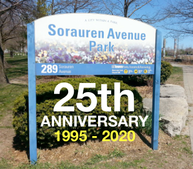 Picture of park sign with type below saying 25th anniversary 1995-2020