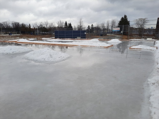 Photo of the natural ice rink as it melts and turns to water under warm grey skies. Surrounded by snowbanks.