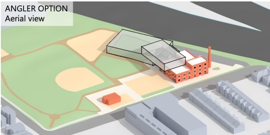 """aerial diagram, looking north over the park, showing the """"Angler"""" option nestled against the rail corridor, with additions behind and partially on top of the existing Canada Linseed oil mill building."""